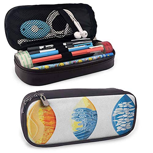 Surf Zipper Large Storage Pens Pouch Bag Ornate Colorful Surfboards Vocation Fun Water Sports Moving Waves Lifestyle Zipper Bag for Pens, Pencils8'x3.5'x1.5'Blue Orange Yellow