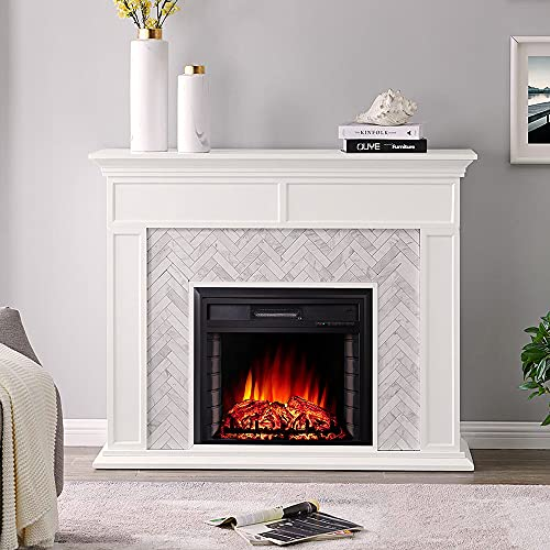 INMOZATA Electric Fireplace Wall Mounted or Insert Recessed Freestanding Electric Fire 26inch Electric Fire Place Stove Heating Realistic LED Flame Free Standing with Remote