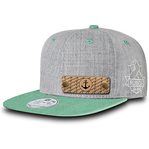 RUBDE Cap2 | Individuelle Snapback Cap Basecap Kappe mit Lederpatch, NFC-Sticker und QR-Code Größen - personalisierbar | Unisex - Herren Damen Kinder Kids | Mint Türkis L
