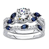 Platinum over Sterling Silver Round Cubic Zirconia with Marquise Created Blue Sapphire Vine Bridal Ring Set Size 8