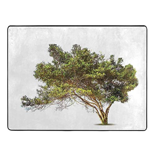 Pattern Info: Tree Rug pad Ancient Tree with Wide Branches Growth Forest Jungle Woods Garden Framework Print Rug pad for Carpet 4' x 5' Green Brown