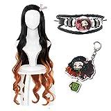 Anime Demon Slayer: Kimetsu No Yaiba Kamado Nezuko Cos Hair Orange Cosplay disfraz pelucas con pulsera llavero