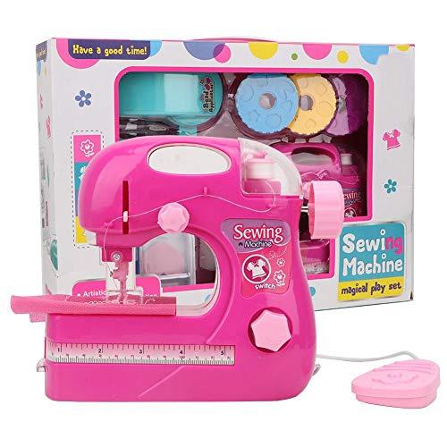 Zerodis Tragbare Simulation Nähmaschine Spielzeug Rose rot kleine Haushalts Kinder manuelle elektrische DIY Kleidung Maker Spielzeug für Kinder