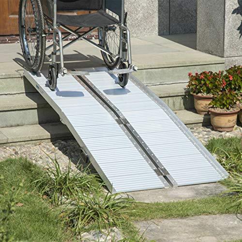 HOMCOM Folding Aluminum Wheelchair Ramp Portable Assist Suitcase Access Aid Disabled 6ft