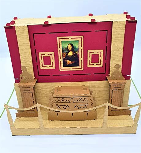 BC Worldwide Ltd handgemachte 3D-Popup-Karte Mona Lisa Louvre Museum Geburtstagskarte, Hochzeitstag, Vatertag, Urlaub Flitterwochen Einladung, Abschlussfeier