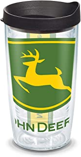 Tervis 1131102 John Deere Colossal Tumbler with Wrap and Black Lid 16oz, Clear -