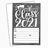 2021 Chalkboard Graduation Invitations (20 Count) With Envelopes - Grad Party Invites