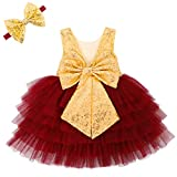 ANATA Flower Girls Wedding Sparkle Dress Bridesmaid Toddler Baby Tutu Big Bow Dress Sleeveless Party Gown for Little Kids Sequin V-Back Princess Dress New Year Gold Burgundy 08 2-3T