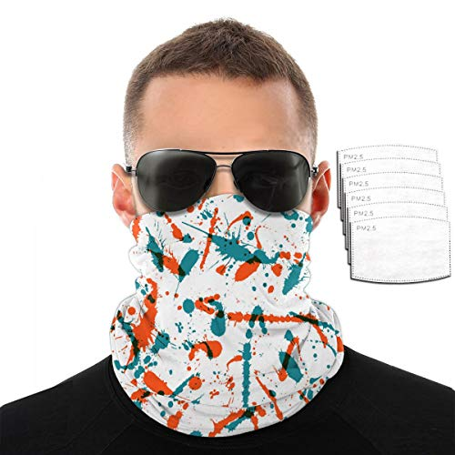 ZZFENG Watercolor Splash Pattern Neck Gaiter Mouth Cover Bandana with 6activated Carbon Filters Piece