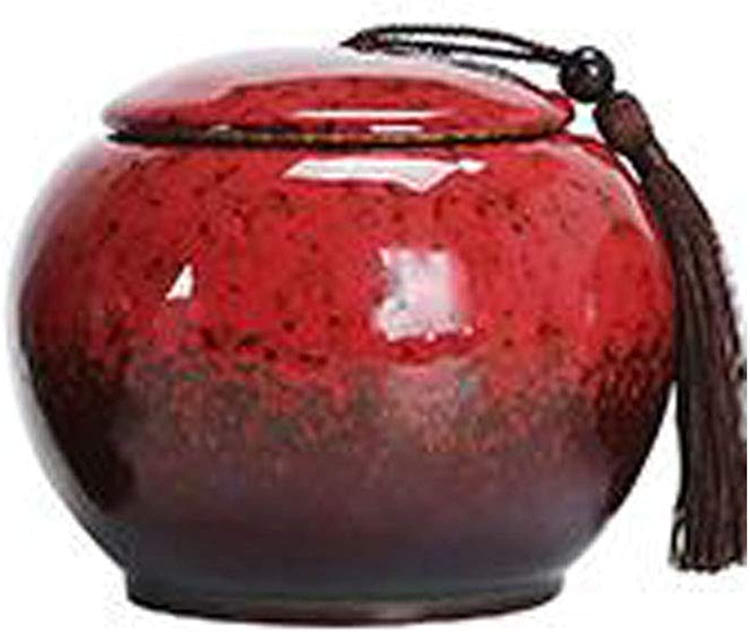 Boyuanweiye Commemorative Cremation Ceremony Dedicated to Ashes  Affordable Ceramic Series for Dog Funeral  5.6inch Multicolor Diameter, kiln bluee Good Material (color   Red)