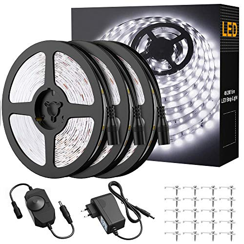 Onforu 15M Tira LED Regulable, Blanco Frío 5000K LED Strip, Kit Cinta Flexible, 12V Franja LED con Regulador de Intensidad, Decoración Interior de LEDs 2835 con Adaptador para Habitación Cocina Salón
