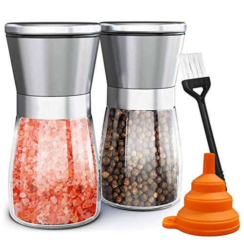 Salt and Pepper Grinder Set of 2, Adjustable Ceramic & Stainless Steel Mill Set, Glass Body Refillable Mill Shakers - Easy Clean Grinders with Silicon Funnel and Cleaning Brush