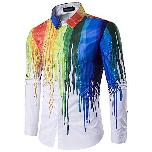 Derrick Aled(k) zhuke Camisa OtoñO Invierno Personalidad De Los Hombres 3D DiseñO De Tinta De Salpicaduras Camisa De Manga Larga De Solapa De Talla Grande