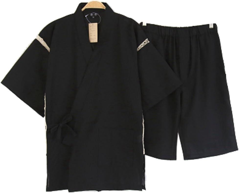 DRAGON SONIC Men's Sleepwear Cotton Short Sleeve Up Top and Pants Pajama Set,T1