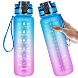 Manords 32oz BPA Free Leakproof Water Bottle with Large Motivational Time Marker Motivational to Ensure You Drink Enough Water For Fitness, Gym and Outdoor Sports