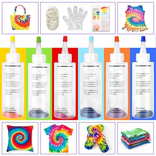 Tie Dye Kit, 6 Lebendige Farben Textilfarben, mit 40 Stück Gummi Band,12 Stück Schutzfolien, Permanente One-Step Tie Dye Art Set für Kinder, Erwachsene, Mode DIY Textilsprühfarbe Set (6 Farben)