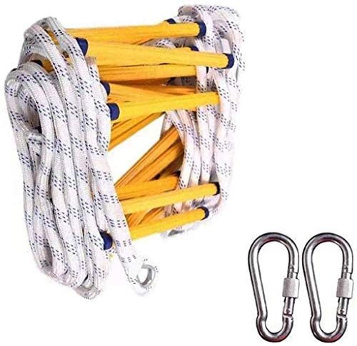 XZHSA Fire Escape Ladder, Emergency Escape Rope Ladder with 2 Hooks/Outdoor High Altitude Climbing Rescue Rope Ladder - Safety Rope Ladder – Fast to Deploy & Easy to Use - Compact & Easy to Store