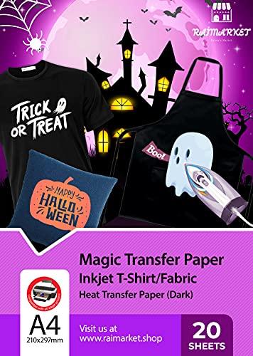 Raimarket Papel Transfer para camisetas | 20 hojas| A4 Hierro imprimible encendido Papel Transfer para camisetas oscuras | Impresión de telas y camisas de bricolaje