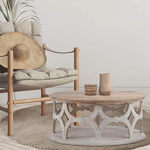 WOMO-DESIGN Orientalischer Couchtisch Paris Ø75x35 cm rund, Natur/Weiß, Massivholz Mangoholz handgeschnitzt, Indische Design, Beistelltisch Sofatisch Wohnzimmertisch Loungetisch Tisch für Wohnzimmer