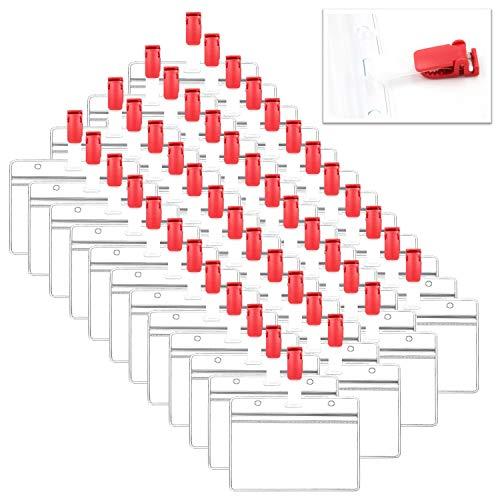 XPdesign 名札クリップ バンドクリップ ネームホルダー 移動ポケット IDカード 名札 ケース 名札ホルダー パスケース (レッド 48セット)