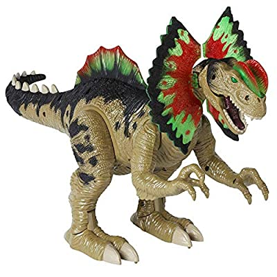 Dilophosaurus Toy - Walks, Roars and Stomps with Flapping Neck Frills and Light-Up Head Crests - Electronic Dinosaur Figure Moves on Its Own - Fun Motorized Dinosaurs Toy for Kids Ages 3+ by Dazmers
