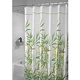 mDesign cortina de baño antimoho - 180 cm x 200 cm - Cortina ducha con 12 ojales resistente - Cortina bañera impermeable color verde