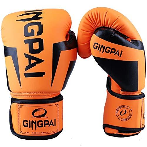 WOLIGEQ Boxhandschuhe 6-12 Unzen Muay Thai PU Leder Boxhandschuhe Frauen Männer Kinder MMA Handschuhe Gym Training Grant BoxhandschuheKarate Boks, Orange