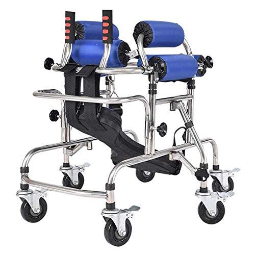 Andador Con Andador de Aluminio con Asiento, Extremidades para Discapacitados Pasamanos Muletas Marco Para Niños Asas de Altura Ajustable Ayuda de Movilidad Cómoda y Fácil de Maniobrar,130 to 150cm