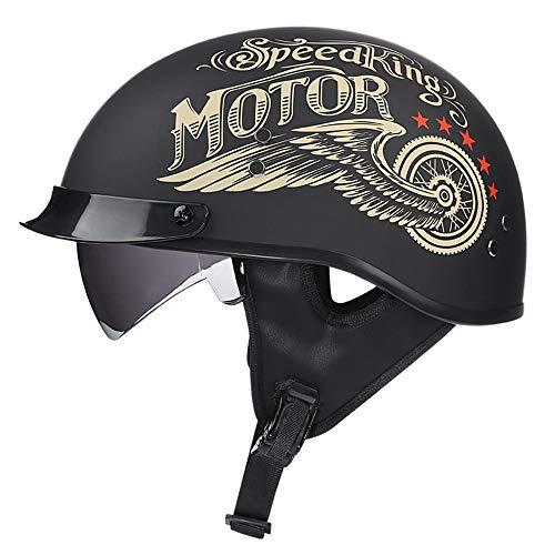 CDEAS Retro MotorradHelm,Sommer Unisex Motorrad Scooter Halbhelm,Motorrad Halbhelme Jet Helm,eingebaute Gläser,ECE-Zertifizierung Mofa Motorrad-Helm Chopper Scooter-Helm