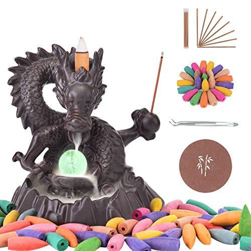 SPACEKEEPER Quemador de Incienso de cerámica Hecho a Mano con reflujo de dragón, Adorno de...