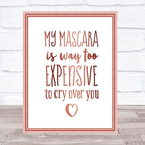 Mijn Mascara Quote Print Poster Rose Goud Muur Kunst Framed White Small