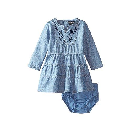 Calvin Klein Baby Girls' 2 Pieces Denim Dress with Panty-Lace Trim, Navy, 6/9M