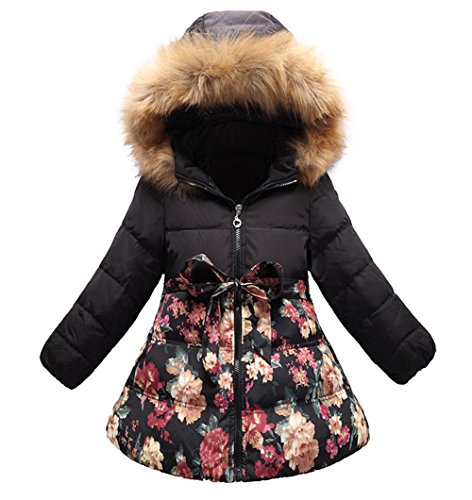SS&CC Girls' Long Flower Printing Bowknot Winter Hooded Down Jacket Size 10/12, Black