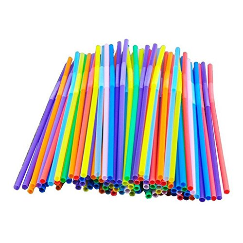 FTXJ 100pcs Colorful Disposable Long Twist Flexible Straws Home Bar Party Cocktail Drinking Straw