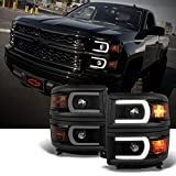 For U Neon Bar Style Black Smoked 2014-15 Chevy Silverado 1500 LED DRL Projector LH + RH Side Headlights