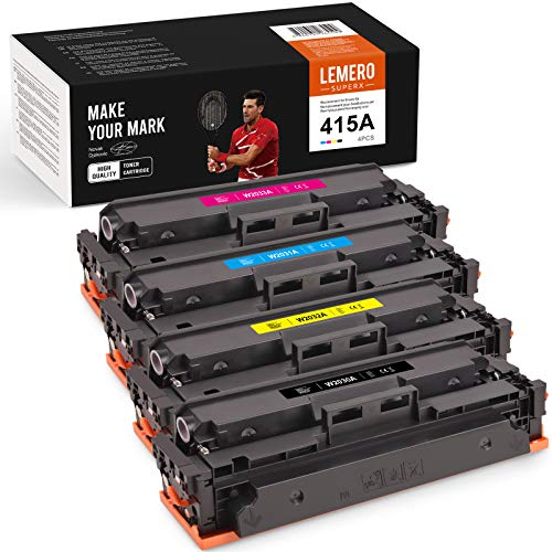 4 LEMERO SUPERX |Kein Chip| Kompatibel für HP 415A 415X Toner HP W2030A W2031A W2032A W2033A CF415A Tonerkartuschen für HP Color Laserjet Pro MFP M479dw M479fdw M479fdn M454dw Drucker (4er-Pack