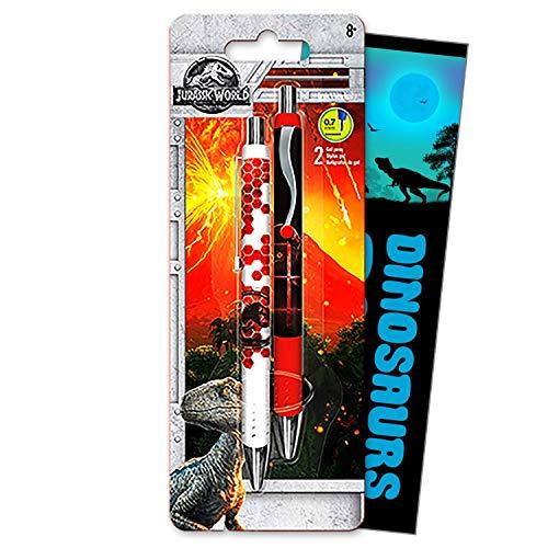 Jurassic World Gel Pen Set Bundle Includes 2 Jurassic Park Gel Pens with Fun Separately Licensed GWW Bookmark