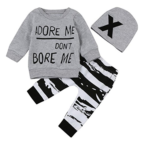Toddler Baby Boy Clothes Set Funny Letter Print Long Sleeve Shirt Top+Pants+Hats Outfits (6-12M, Gray)