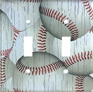 Weathered Baseball Sports Decorative Double Toggle Light Switch Wall Plate