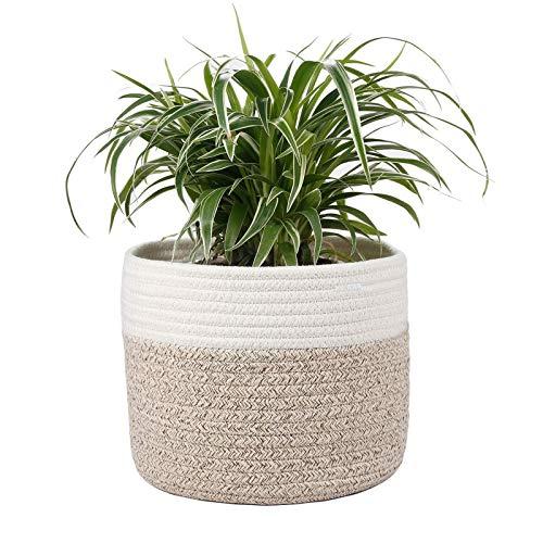 Flower Pot Planter Basket, Multifunctional Organic Cotton Rope Pot for Indoor Plants, Toy Organizer Handwoven Basket, Home Decoration and Storage (Size : 25 * 25cm)