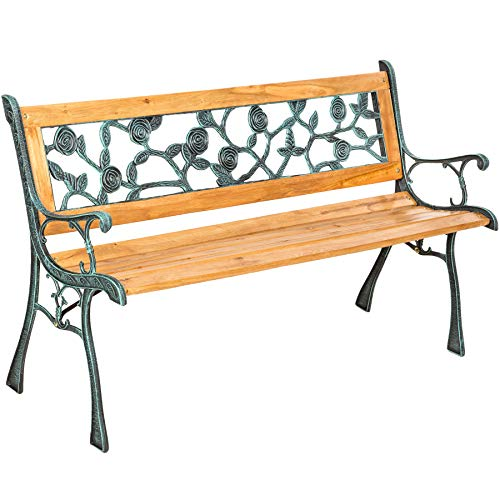 TecTake 3 Seater Wooden Slat Garden Bench Cast Iron Legs - different models - (Marina | No. 401424)