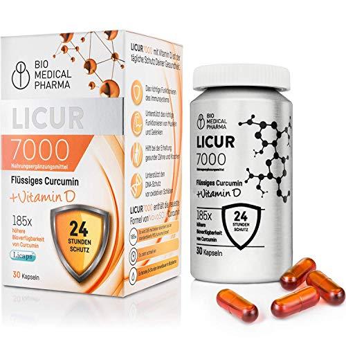 Cápsulas de curcumina + vitamina D | Licur MAX 185x Mayor biodisponibilidad, 720 mg NovaSOL® | 30 comprimidos, veganos | Complemento alimenticio a base de extracto de cúrcuma, una cápsula al día
