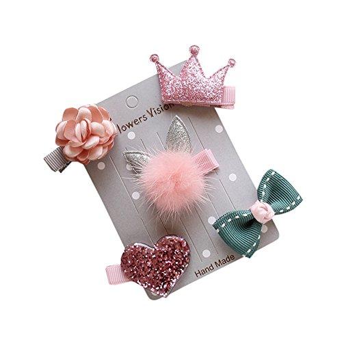 XLGX 5 Pcs Lot de Barrettes Pinces à Cheveux Fantaisie Décoratives pour Séance Photo Réussie de Votre Enfant Bébé ou jeune Fille (Rose)