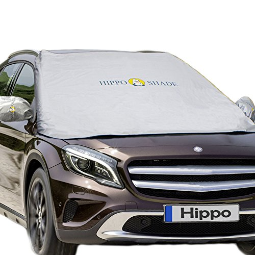 Hippo Magnetic Car Windshield Sunshade&Snow Cover with UV Rays,Ice,Frost Proof Full Protection - Standard Sun Visor Keep Vehicle Cool - Fit for Most Vehicle with Size 74.86