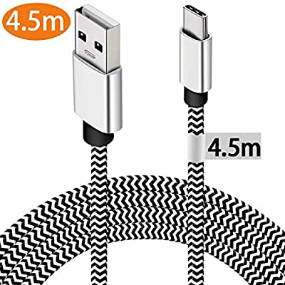 USB C Cable,[1-Pack 4.5M] USB Type C Cable Durable Certified Extra Long Nylon Braided Charging Cable Compatible For Samsung S10/S9/S8Plus, Sony Xperia XZ, Pixel 2xl, Huawei P30/20 Mate30/20, Switch