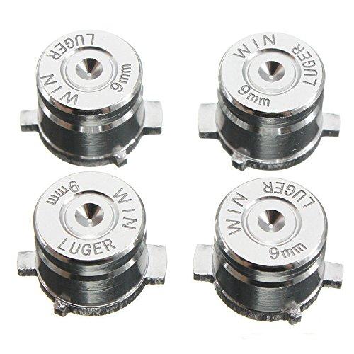 Aluminium Metal Mod Kit Levers Joystick Bullet Buttons for PS4 PS3 Controller Replacement (Silver)