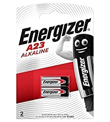 Energizer A23 Pack of 2 Batteries Battery Technology: Alkaline (Single Use) Also known as - 23A, 23AE, A23, V23GA, MN21
