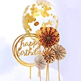 RESTARDS Happy Birthday Cake Topper Acrylic Cupcake Topper, A Series of Gold Paper Fans Confetti...