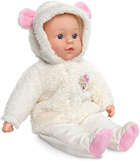 TRIOKID My First 16 Inch Cuddly Baby Doll Emma with Removable Baby Girl Clothes Wipe-Clean Limbs and Soft Body