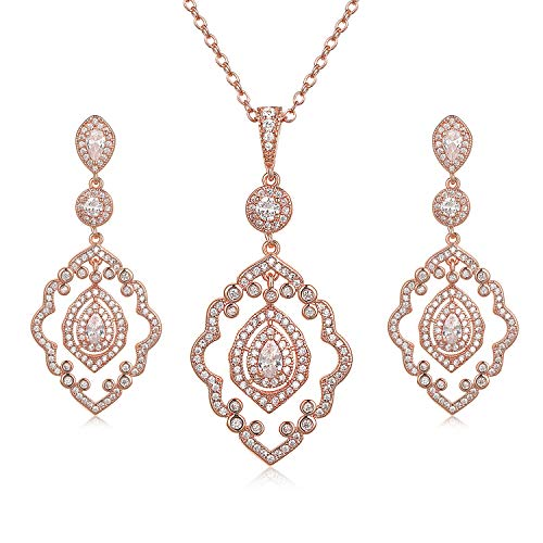 SWEETV Rose Gold Necklace and Earrings Set - Wedding Jewelry for Brides, Bridesmaids
